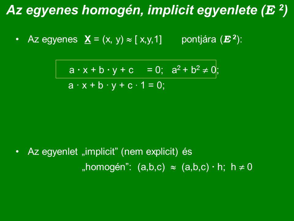 Az egyenes homogén, implicit egyenlete (E 2)