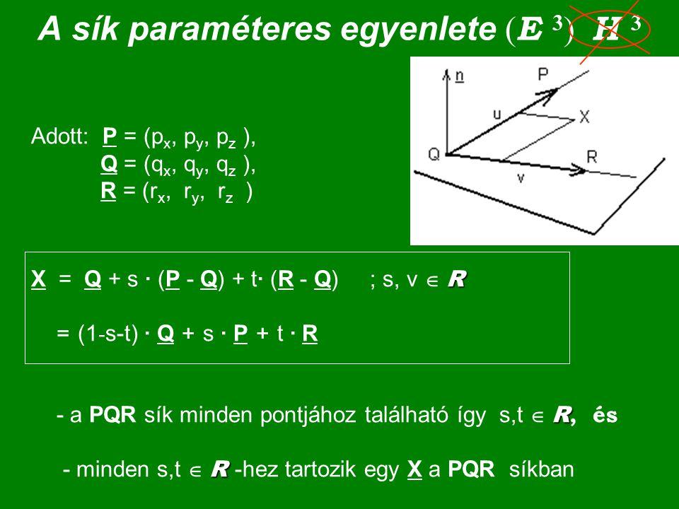 A sík paraméteres egyenlete (E 3) H 3