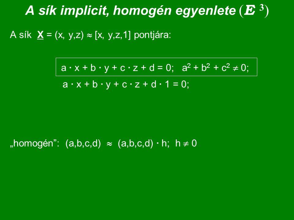 A sík implicit, homogén egyenlete (E 3)