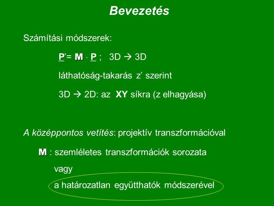 Bevezetés Számítási módszerek: P'= M  P ; 3D  3D
