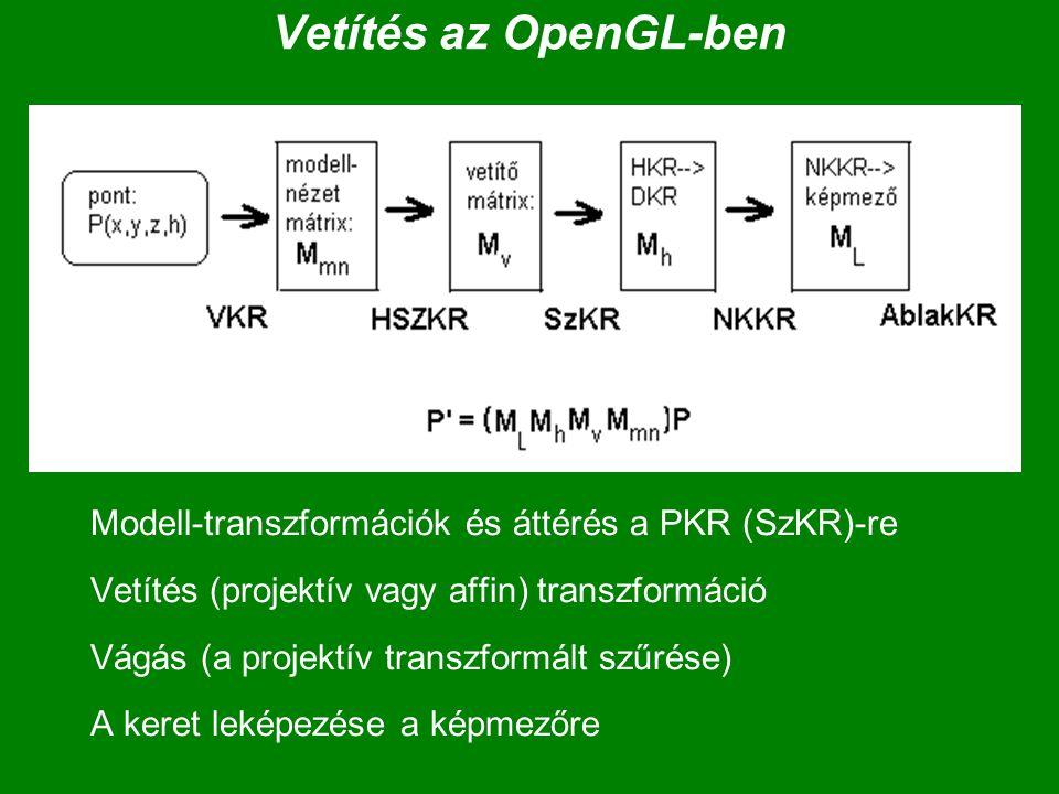 Vetítés az OpenGL-ben Modell-transzformációk és áttérés a PKR (SzKR)-re. Vetítés (projektív vagy affin) transzformáció.
