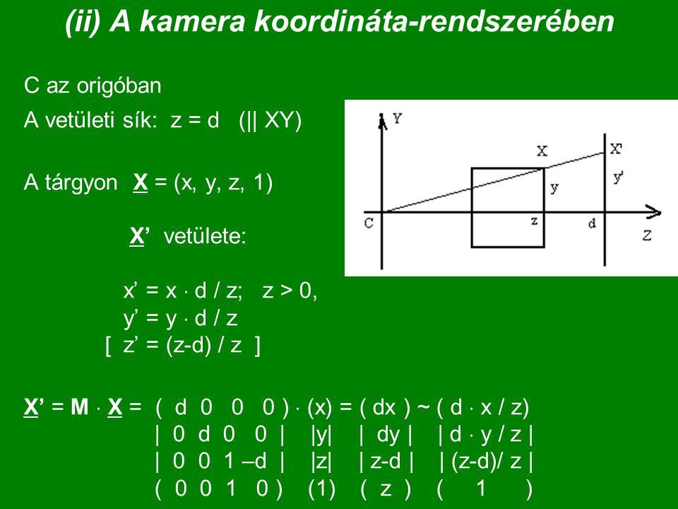 (ii) A kamera koordináta-rendszerében
