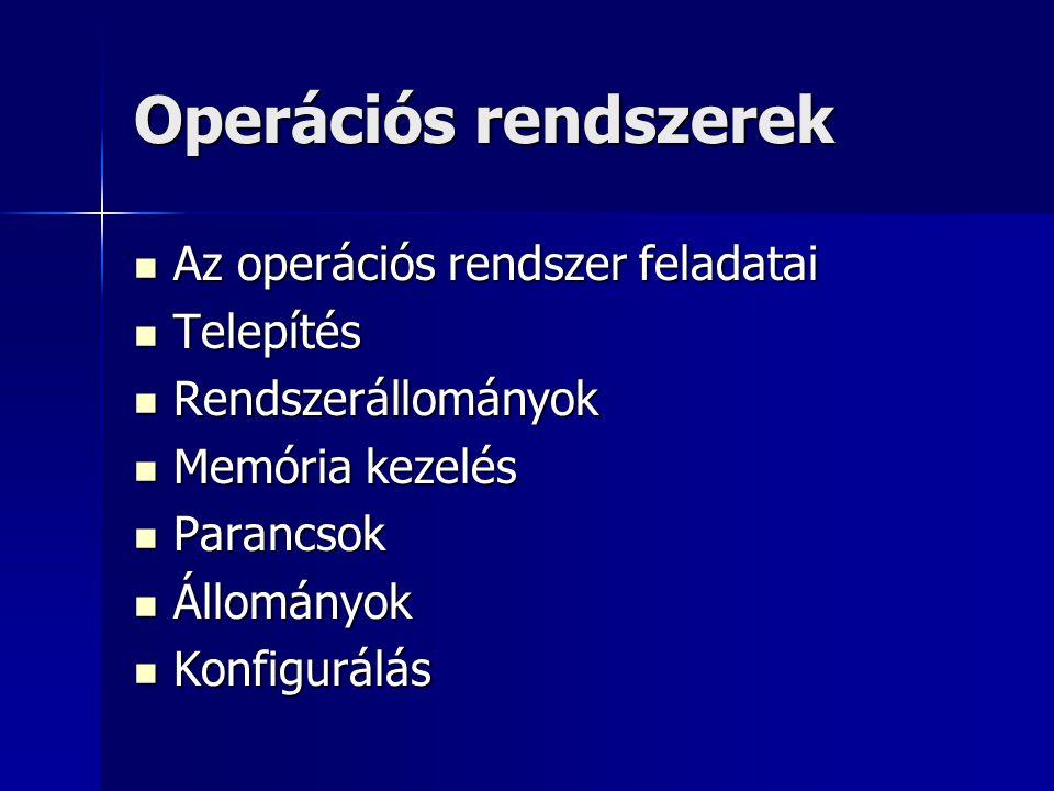 Operációs rendszerek Az operációs rendszer feladatai Telepítés