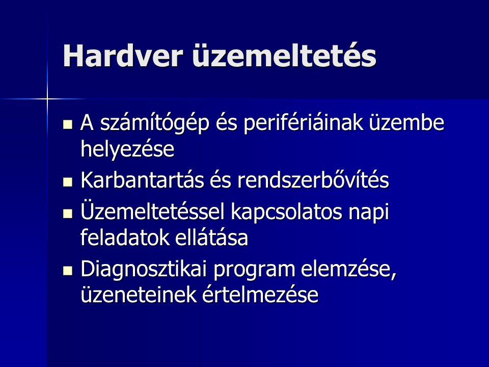 Hardver üzemeltetés A számítógép és perifériáinak üzembe helyezése