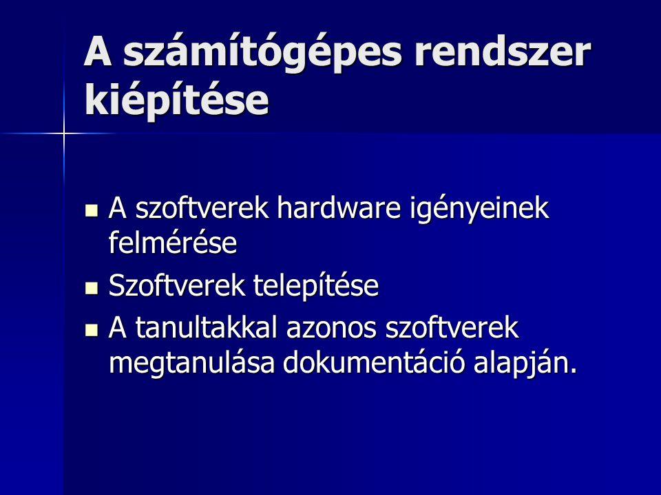 A számítógépes rendszer kiépítése