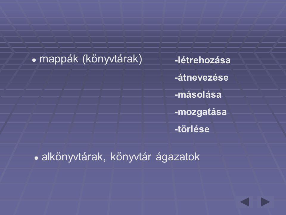-létrehozása -átnevezése -másolása -mozgatása -törlése
