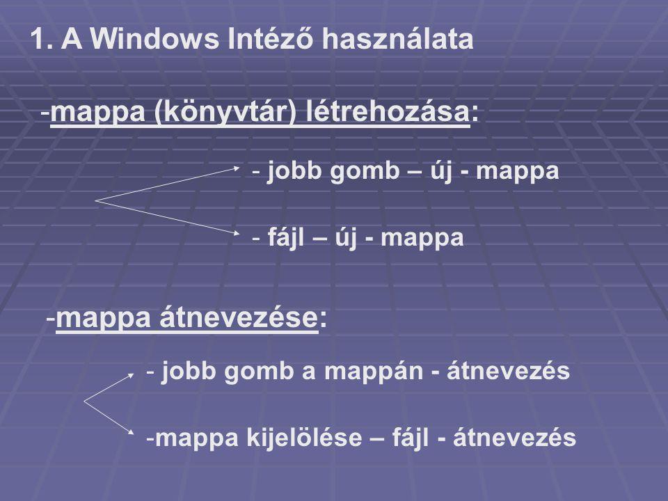 1. A Windows Intéző használata