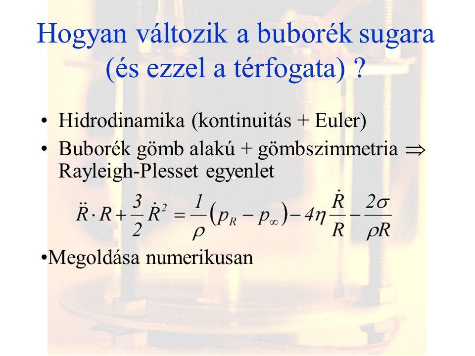 Hogyan változik a buborék sugara (és ezzel a térfogata)