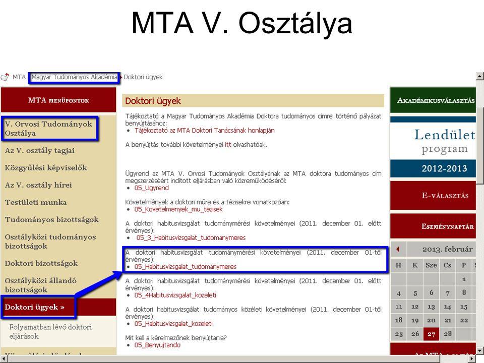 MTA V. Osztálya