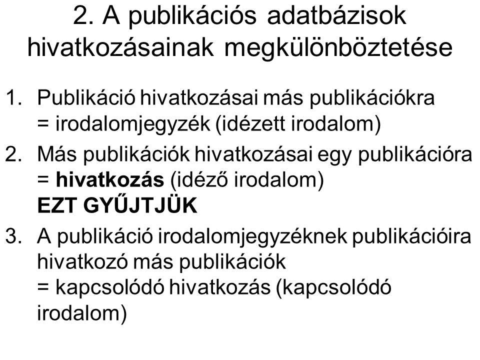 2. A publikációs adatbázisok hivatkozásainak megkülönböztetése