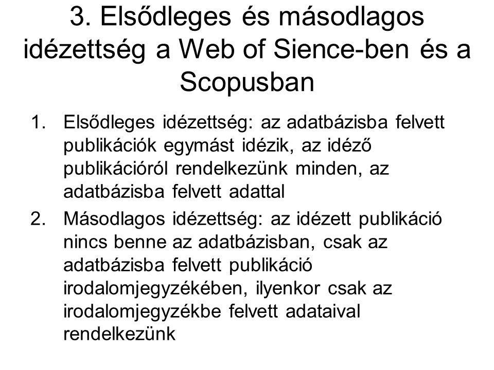3. Elsődleges és másodlagos idézettség a Web of Sience-ben és a Scopusban