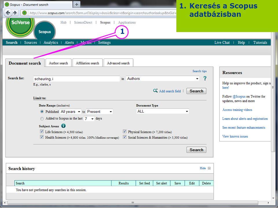 Keresés a Scopus adatbázisban