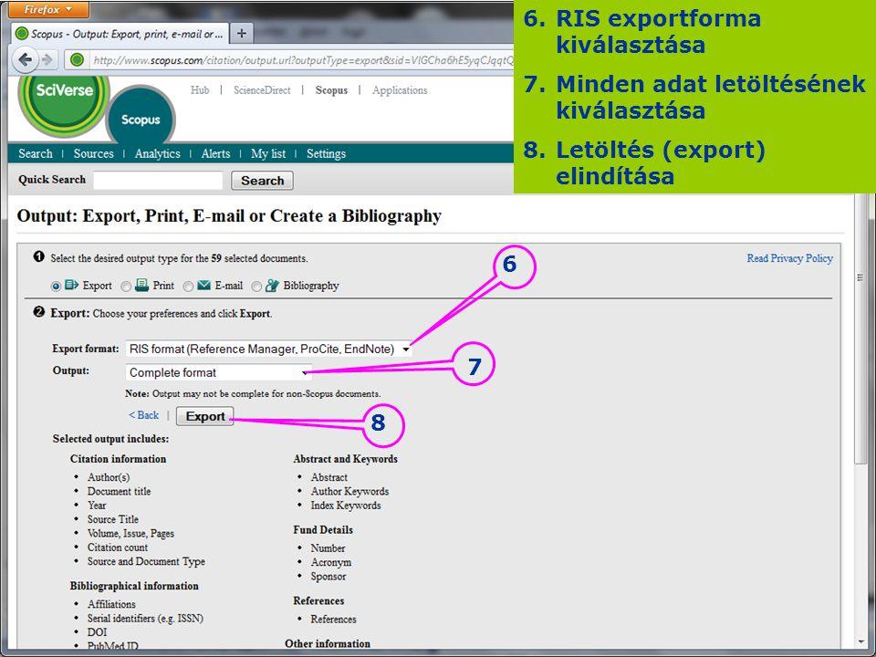RIS exportforma kiválasztása Minden adat letöltésének kiválasztása