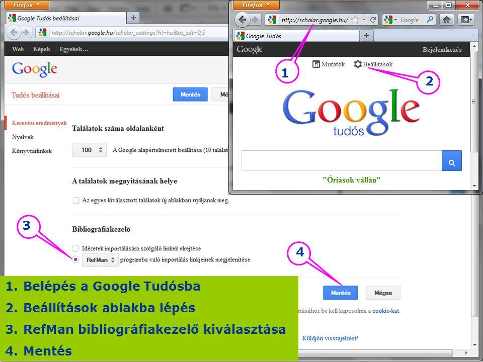 Belépés a Google Tudósba Beállítások ablakba lépés