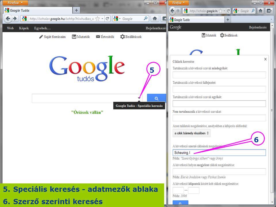 Speciális keresés - adatmezők ablaka Szerző szerinti keresés