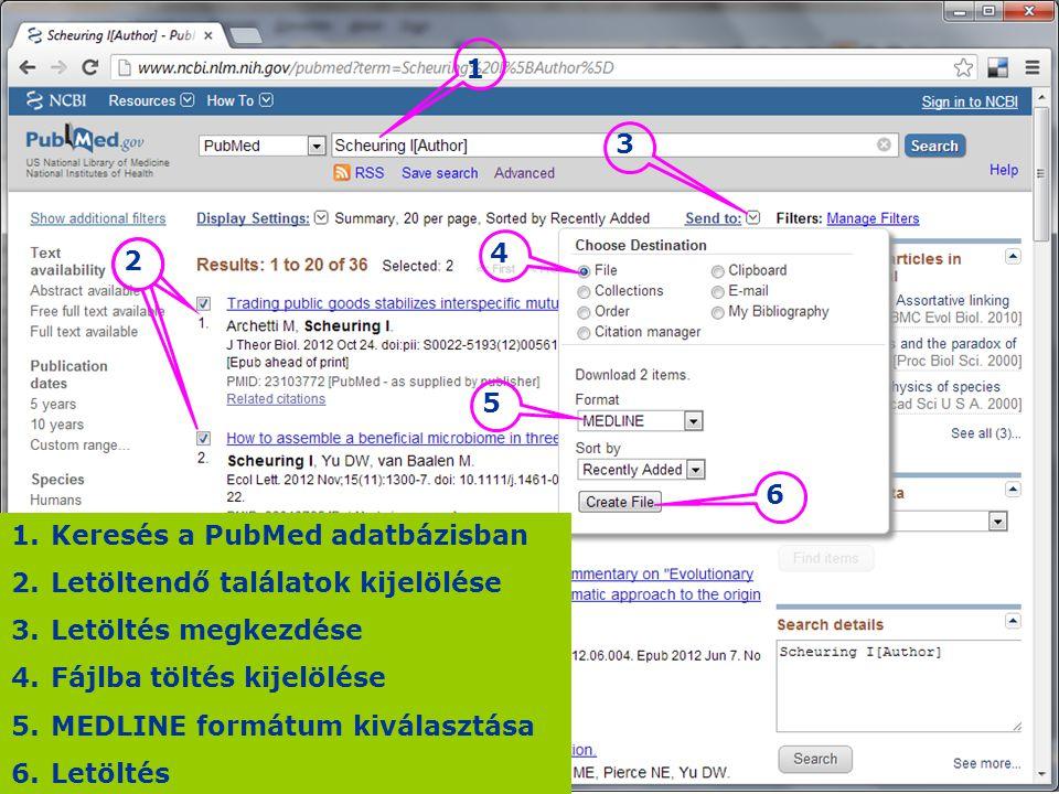 Keresés a PubMed adatbázisban Letöltendő találatok kijelölése