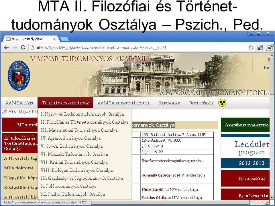 MTA II. Filozófiai és Történet-tudományok Osztálya – Pszich., Ped.