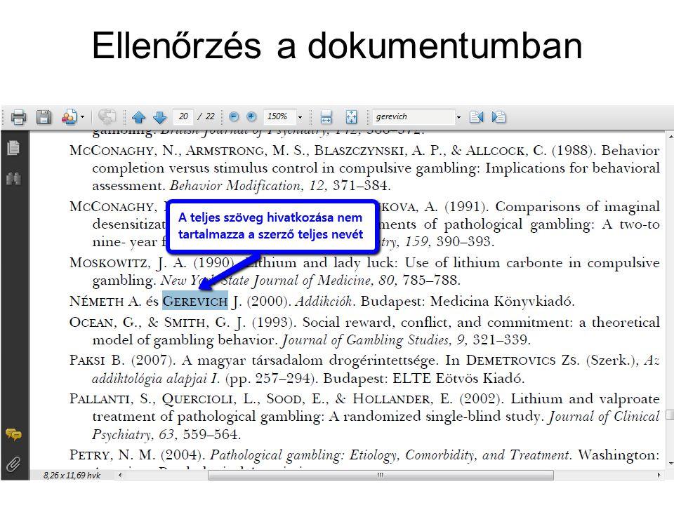 Ellenőrzés a dokumentumban
