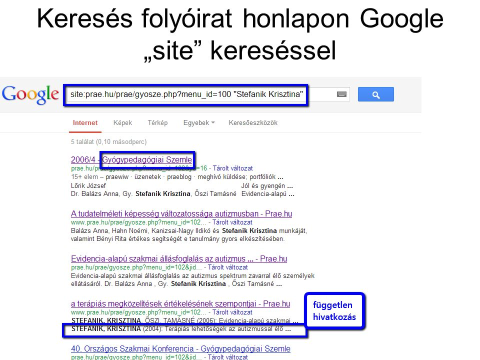 """Keresés folyóirat honlapon Google """"site kereséssel"""