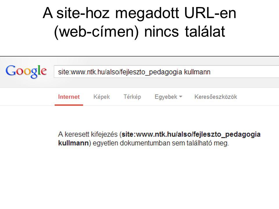 A site-hoz megadott URL-en (web-címen) nincs találat