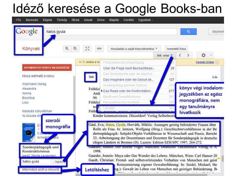 Idéző keresése a Google Books-ban