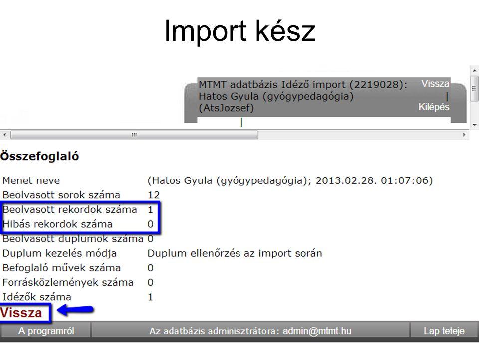 Import kész