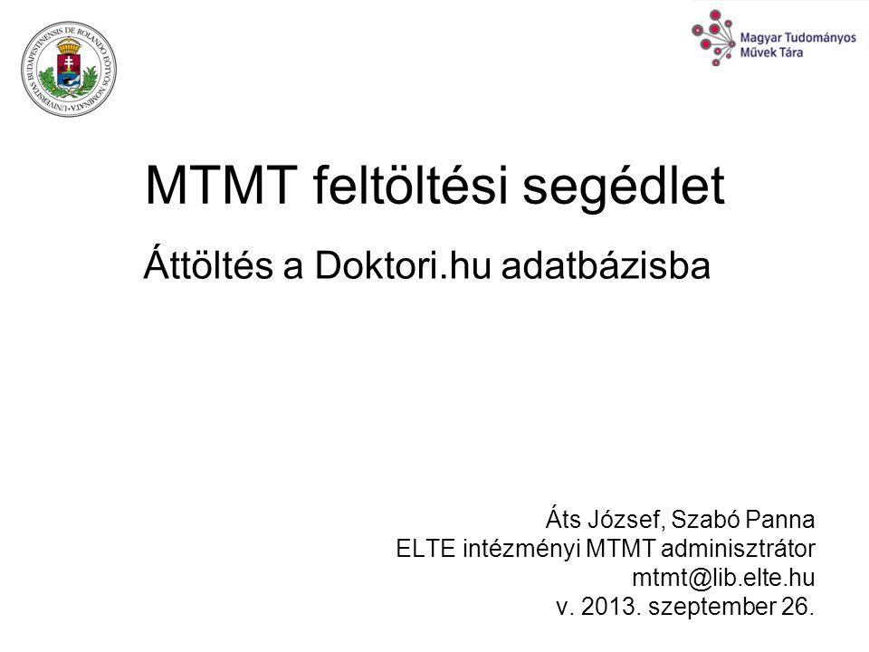 MTMT feltöltési segédlet