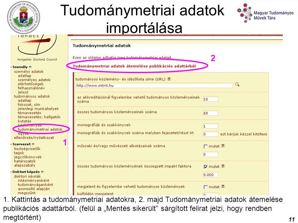Tudománymetriai adatok importálása