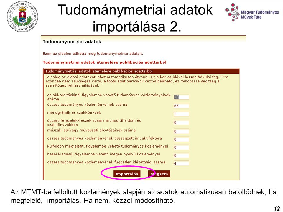 Tudománymetriai adatok importálása 2.