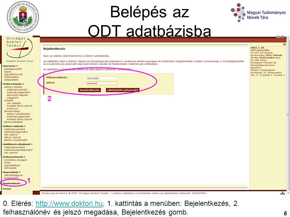 Belépés az ODT adatbázisba