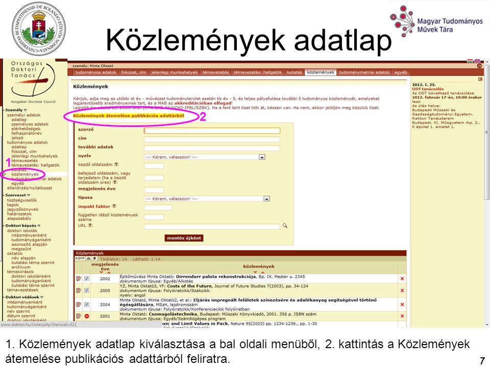 Közlemények adatlap 2. 1.