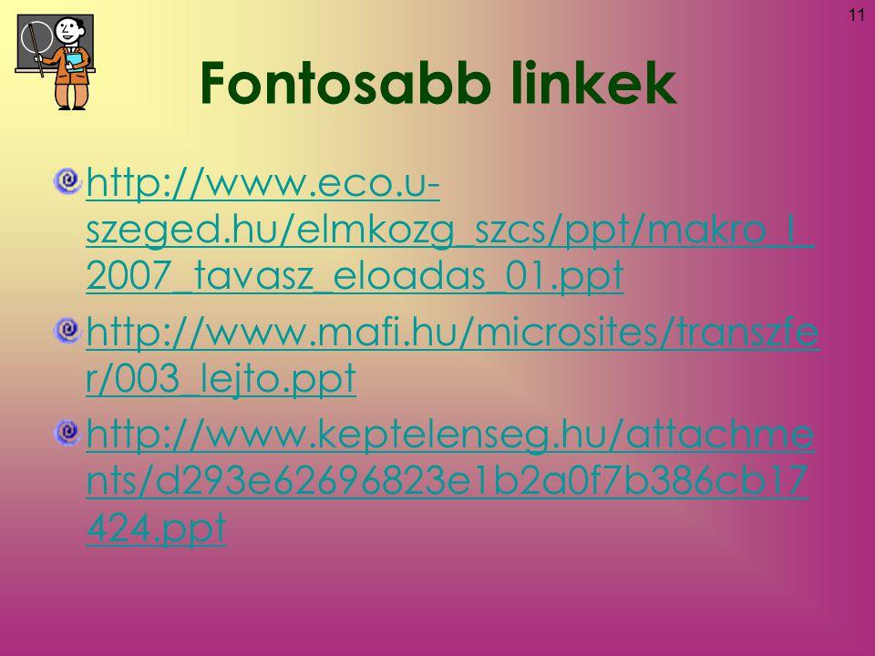 Fontosabb linkek http://www.eco.u-szeged.hu/elmkozg_szcs/ppt/makro_I_2007_tavasz_eloadas_01.ppt.