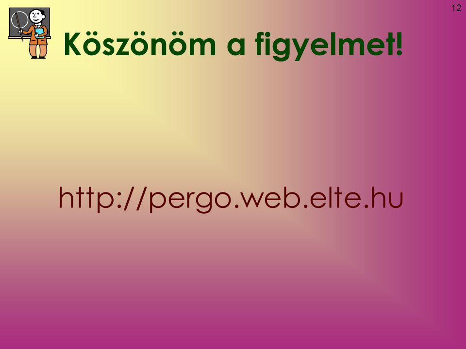 Köszönöm a figyelmet! http://pergo.web.elte.hu