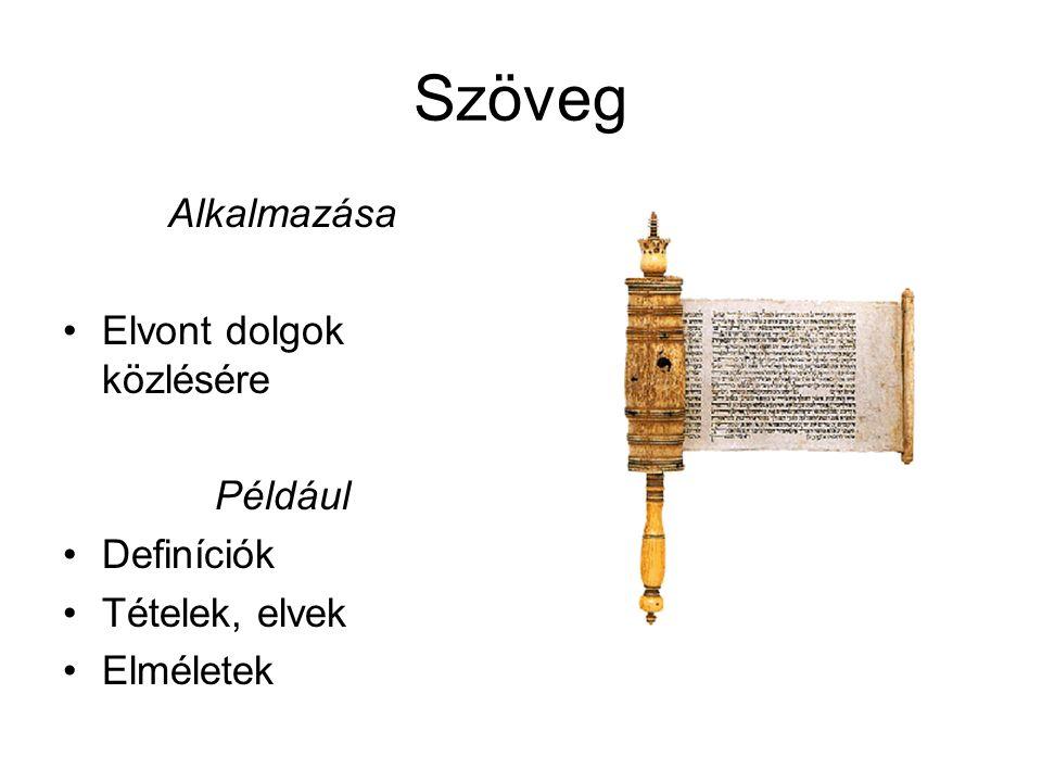 Szöveg Alkalmazása Elvont dolgok közlésére Például Definíciók