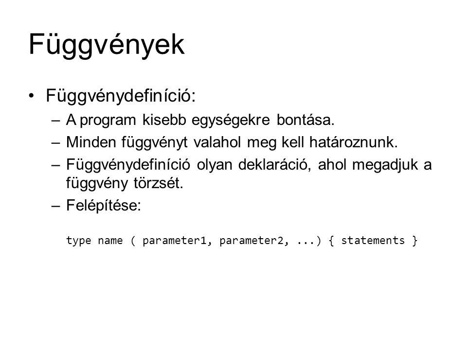 Függvények Függvénydefiníció: A program kisebb egységekre bontása.