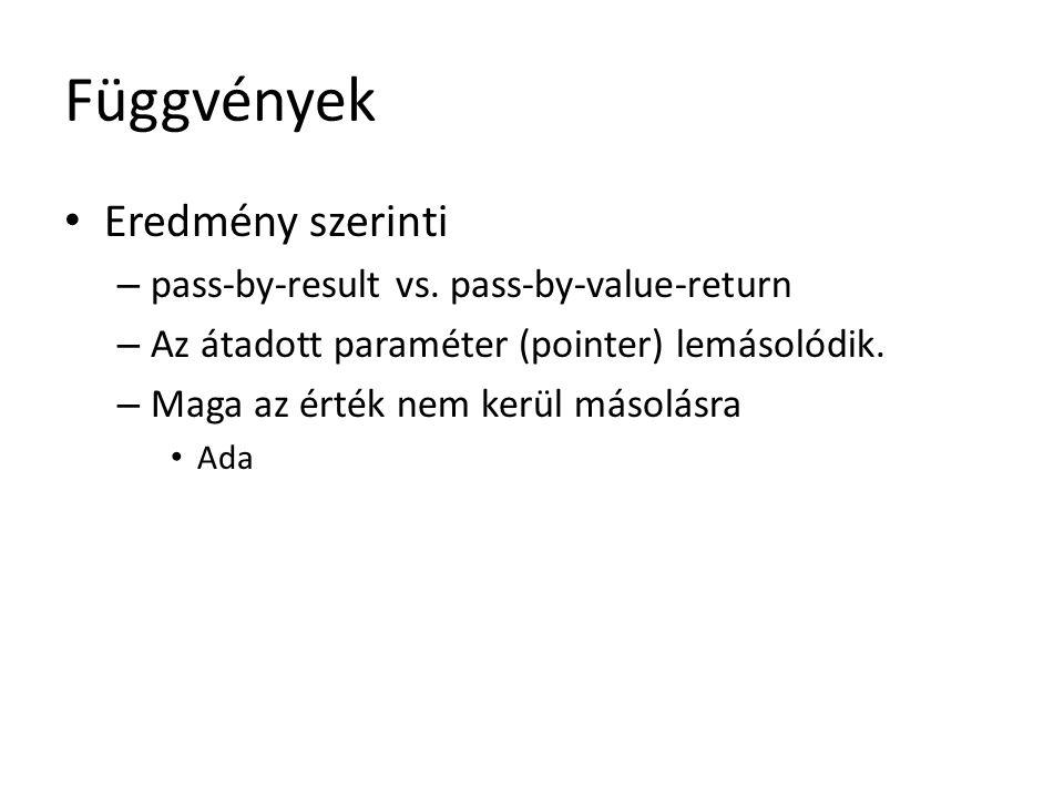 Függvények Eredmény szerinti pass-by-result vs. pass-by-value-return
