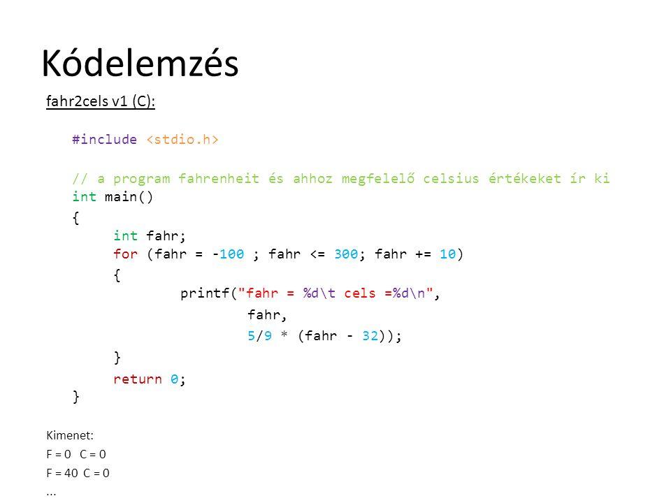 Kódelemzés fahr2cels v1 (C):