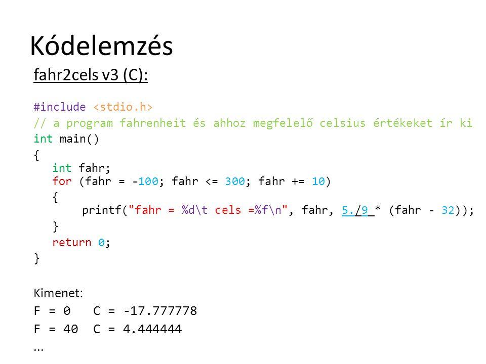 Kódelemzés fahr2cels v3 (C): Kimenet: F = 0 C = -17.777778