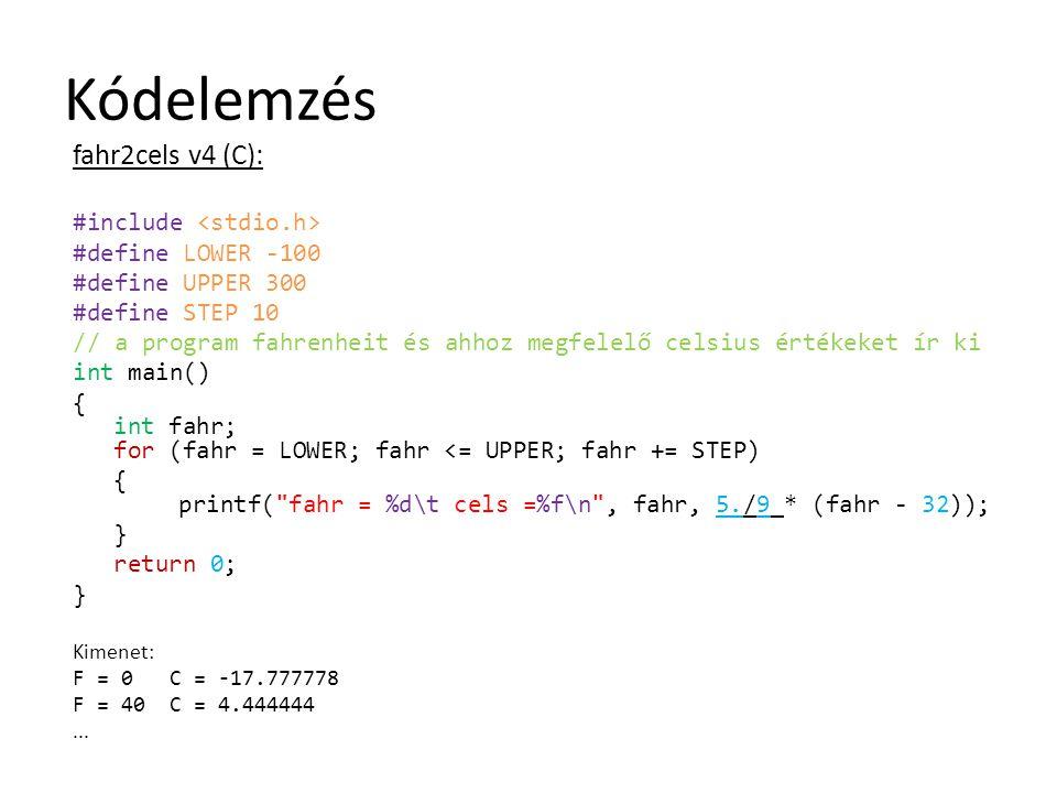 Kódelemzés fahr2cels v4 (C): #include <stdio.h>