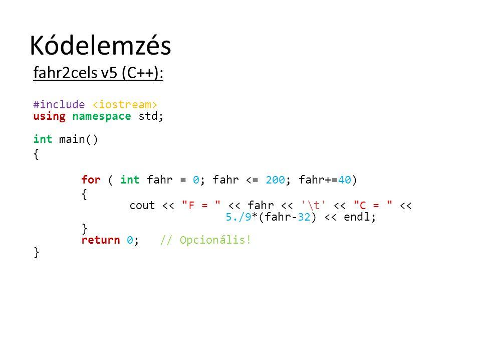Kódelemzés fahr2cels v5 (C++):