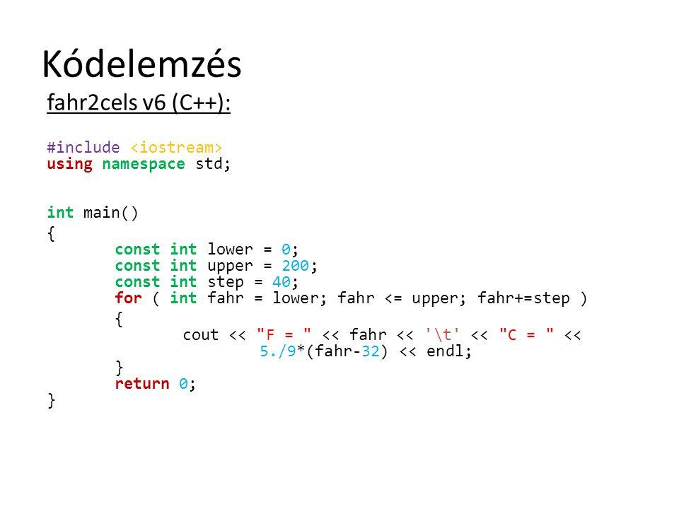 Kódelemzés fahr2cels v6 (C++):