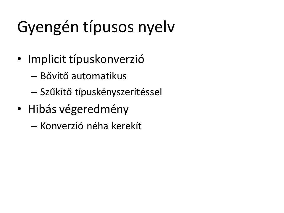 Gyengén típusos nyelv Implicit típuskonverzió Hibás végeredmény