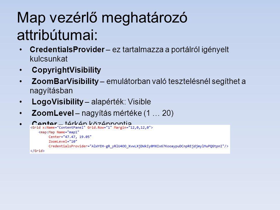 Map vezérlő meghatározó attribútumai: