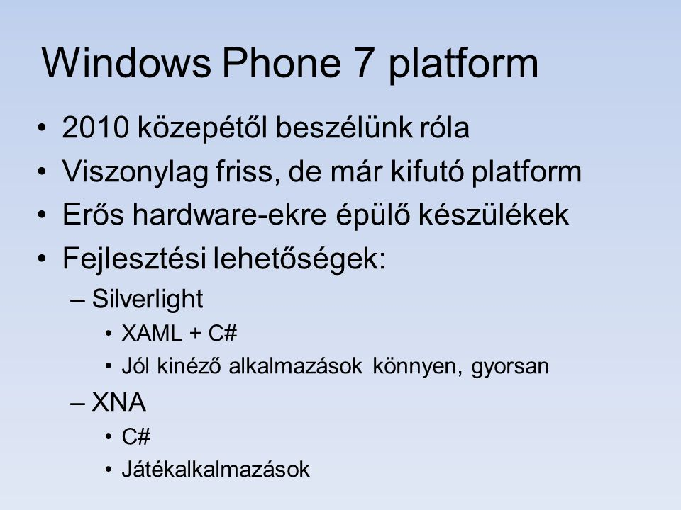 Windows Phone 7 platform