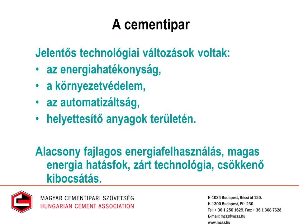 A cementipar Jelentős technológiai változások voltak: