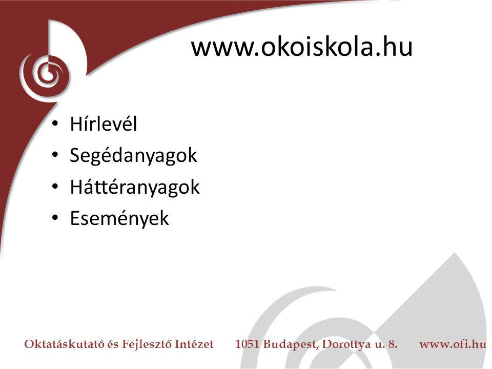 www.okoiskola.hu Hírlevél Segédanyagok Háttéranyagok Események