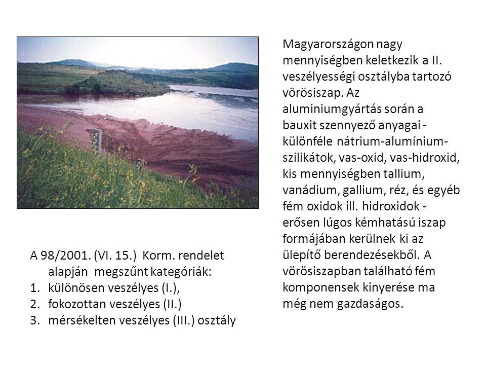 A 98/2001. (VI. 15.) Korm. rendelet alapján megszűnt kategóriák: