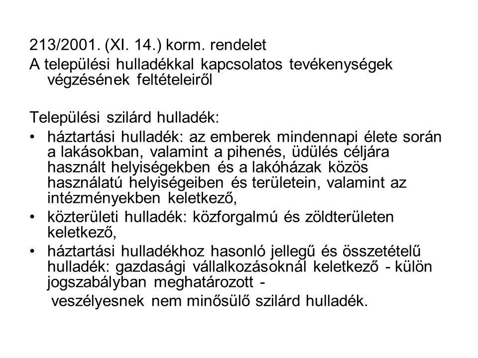 213/2001. (XI. 14.) korm. rendelet A települési hulladékkal kapcsolatos tevékenységek végzésének feltételeiről.