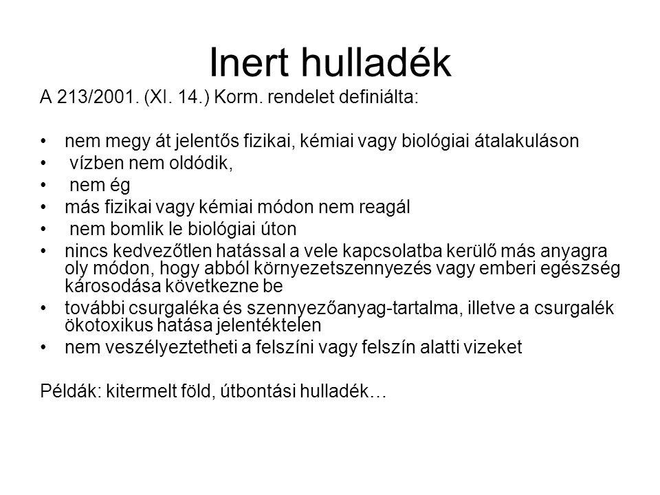 Inert hulladék A 213/2001. (XI. 14.) Korm. rendelet definiálta: