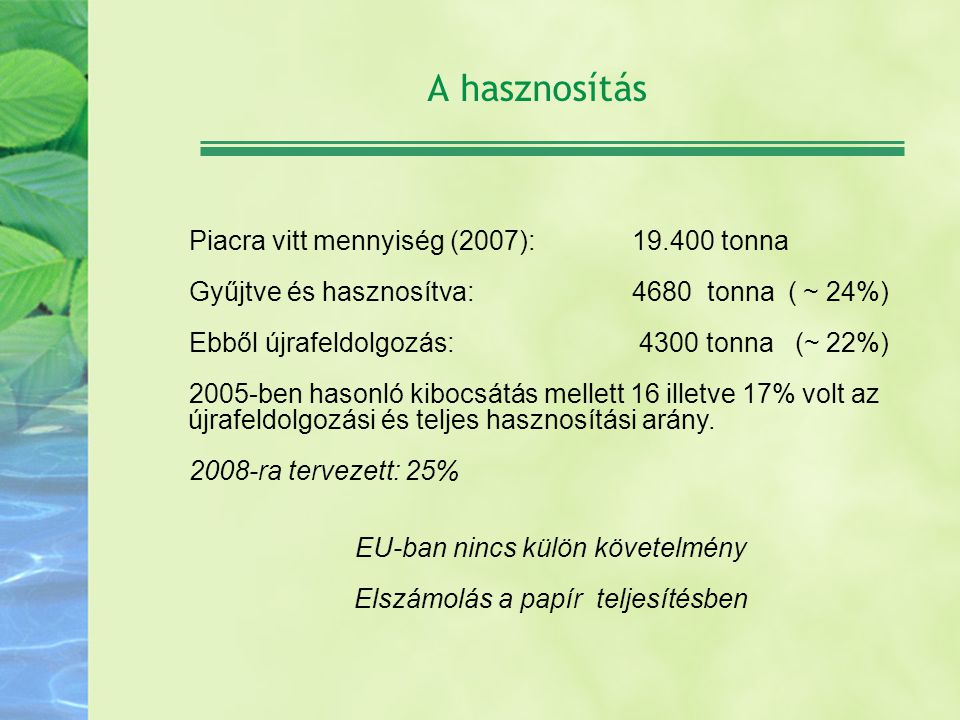 A hasznosítás Piacra vitt mennyiség (2007): 19.400 tonna